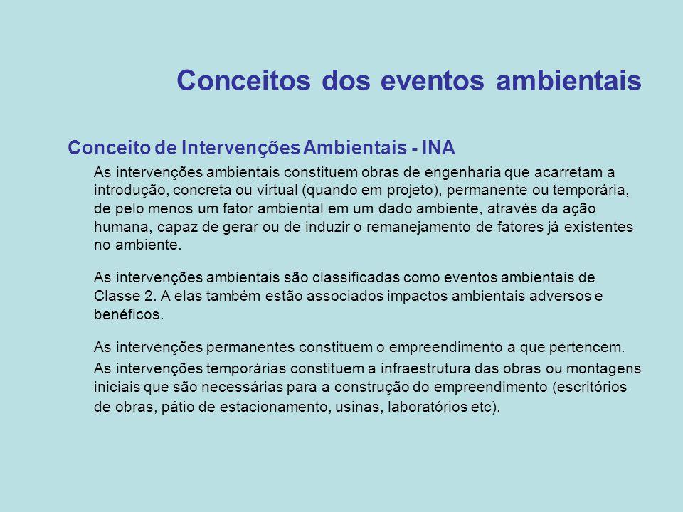 Conceitos dos eventos ambientais •Conceito de Intervenções Ambientais - INA –As intervenções ambientais constituem obras de engenharia que acarretam a