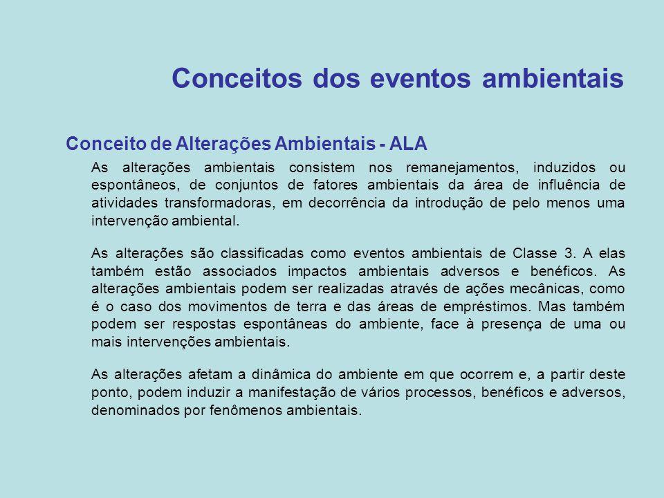 Conceitos dos eventos ambientais •Conceito de Alterações Ambientais - ALA –As alterações ambientais consistem nos remanejamentos, induzidos ou espontâ