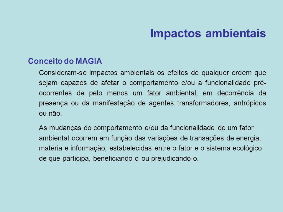 Impactos ambientais •Conceito do MAGIA  Consideram-se impactos ambientais os efeitos de qualquer ordem que sejam capazes de afetar o comportamento e/