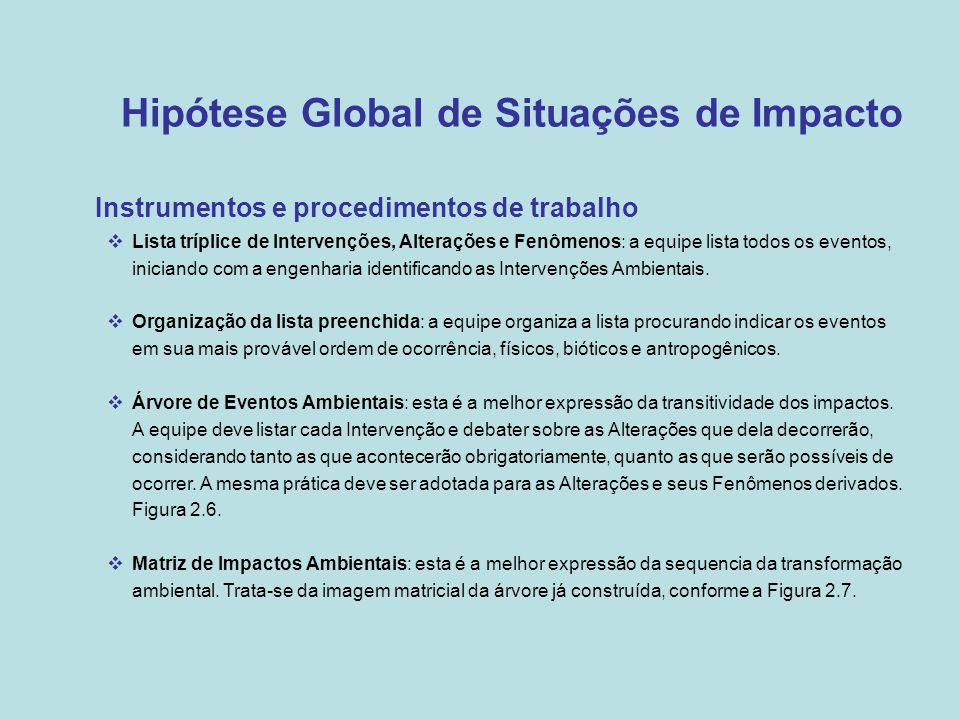 Hipótese Global de Situações de Impacto •Instrumentos e procedimentos de trabalho  Lista tríplice de Intervenções, Alterações e Fenômenos: a equipe l