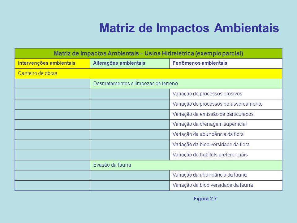 Matriz de Impactos Ambientais Figura 2.7 Matriz de Impactos Ambientais – Usina Hidrelétrica (exemplo parcial) Intervenções ambientaisAlterações ambien