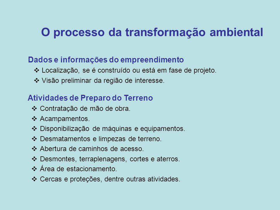 O processo da transformação ambiental •Dados e informações do empreendimento  Localização, se é construído ou está em fase de projeto.  Visão prelim