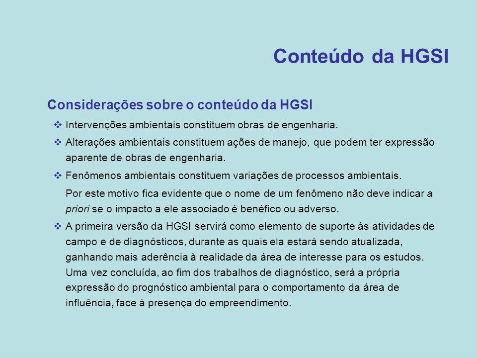 Conteúdo da HGSI •Considerações sobre o conteúdo da HGSI  Intervenções ambientais constituem obras de engenharia.  Alterações ambientais constituem