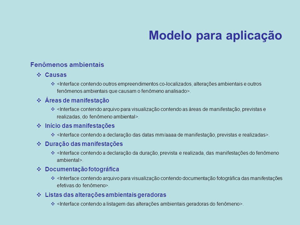 Modelo para aplicação  Fenômenos ambientais  Causas .  Áreas de manifestação .  Início das manifestações .  Duração das manifestações .  Doc