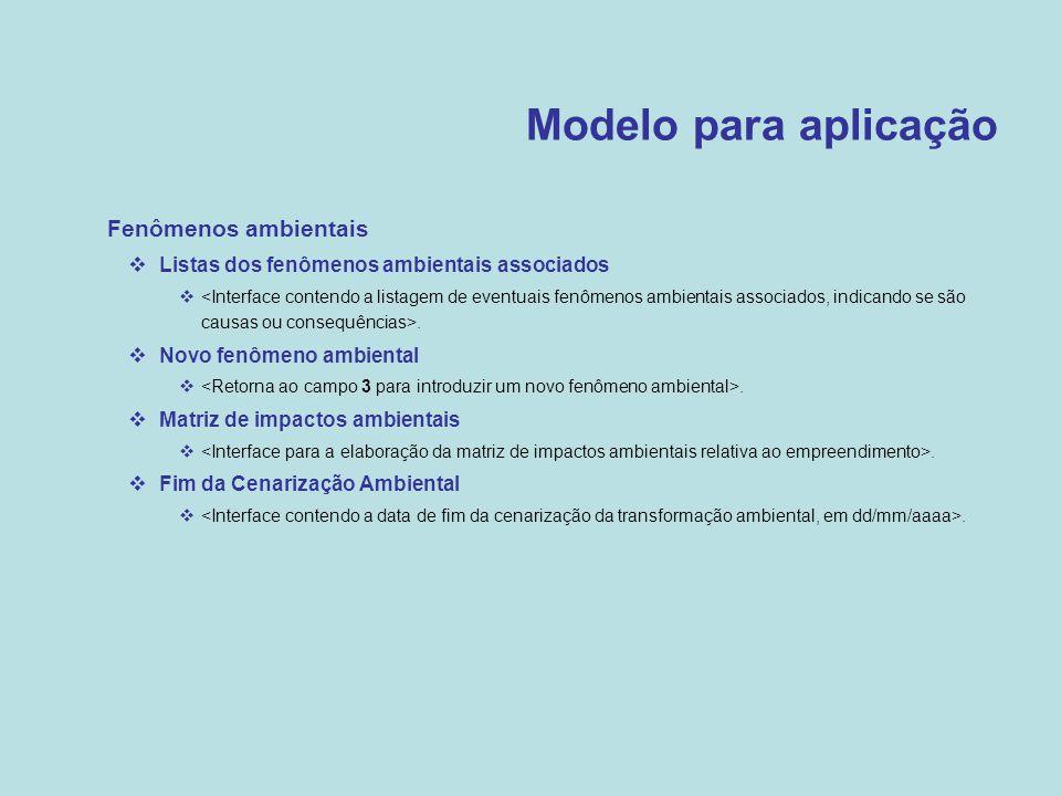 Modelo para aplicação  Fenômenos ambientais  Listas dos fenômenos ambientais associados .  Novo fenômeno ambiental .  Matriz de impactos ambient