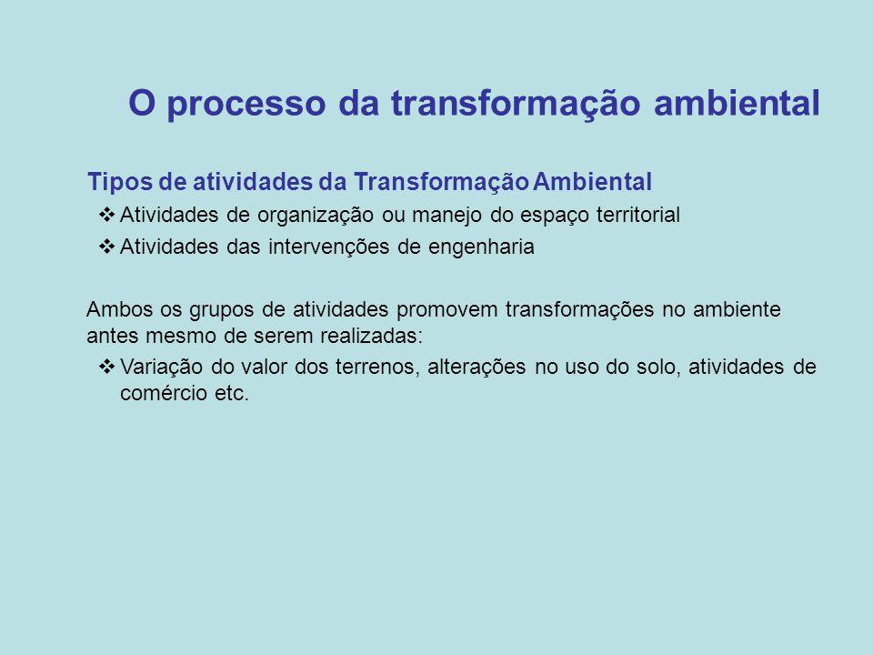 O processo da transformação ambiental •Tipos de atividades da Transformação Ambiental  Atividades de organização ou manejo do espaço territorial  At