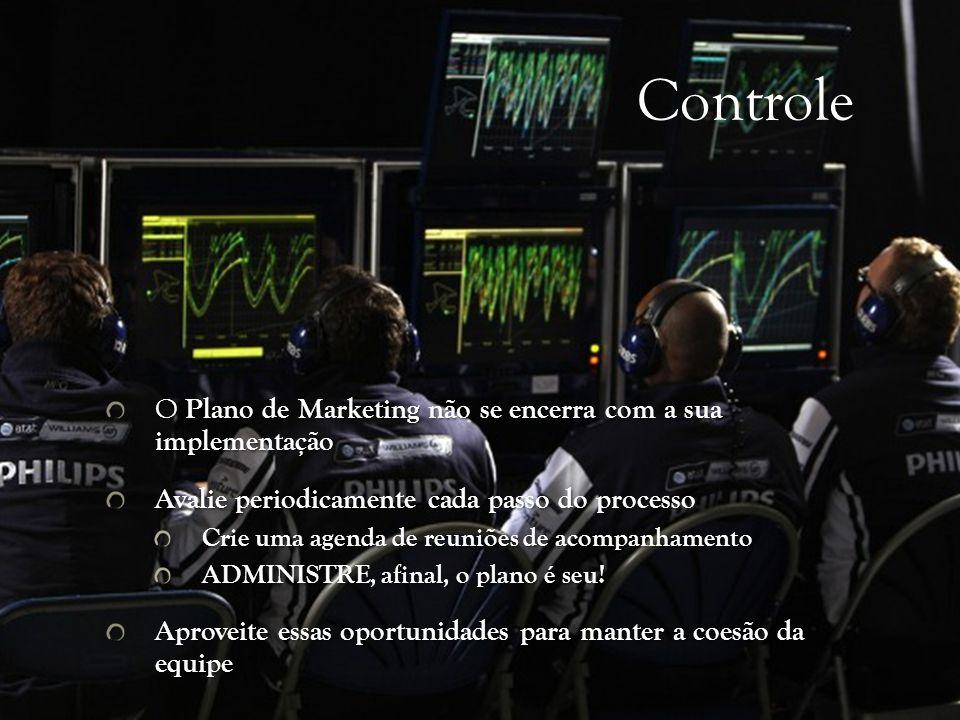 Controle O Plano de Marketing não se encerra com a sua implementação Avalie periodicamente cada passo do processo Crie uma agenda de reuniões de acompanhamento ADMINISTRE, afinal, o plano é seu.