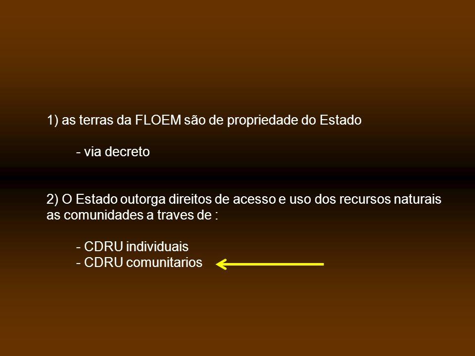 1) as terras da FLOEM são de propriedade do Estado - via decreto 2) O Estado outorga direitos de acesso e uso dos recursos naturais as comunidades a traves de : - CDRU individuais - CDRU comunitarios