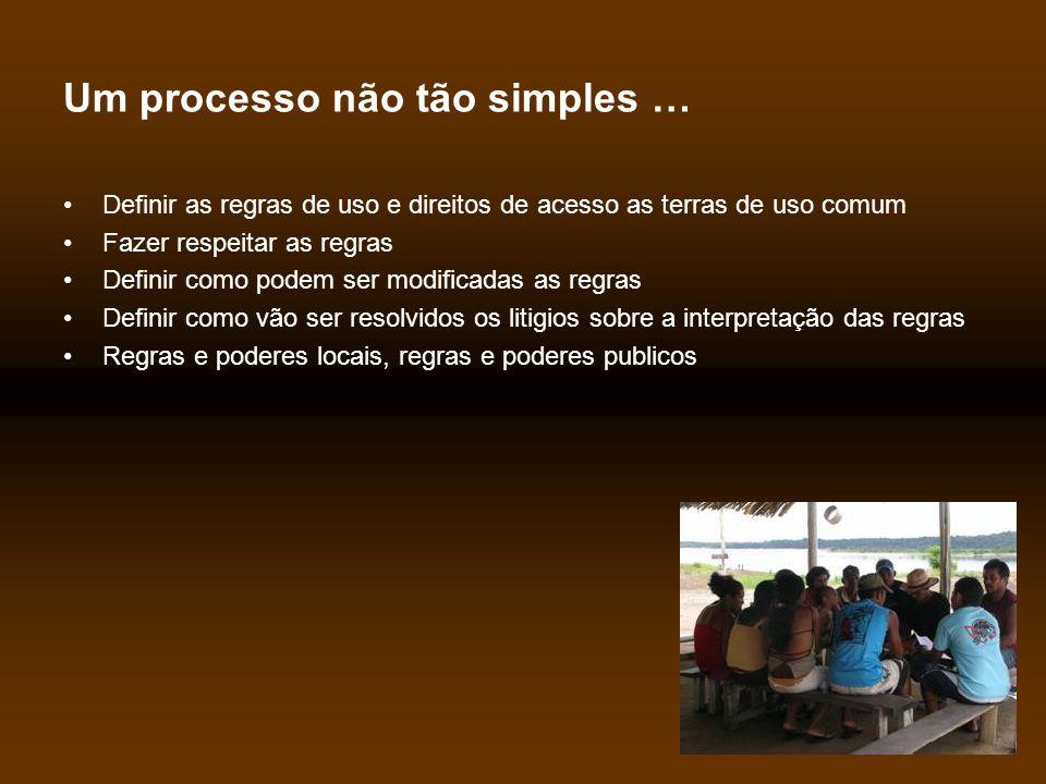 Um processo não tão simples … •Definir as regras de uso e direitos de acesso as terras de uso comum •Fazer respeitar as regras •Definir como podem ser