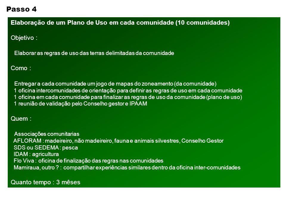 Passo 4 Elaboração de um Plano de Uso em cada comunidade (10 comunidades) Objetivo : Elaborar as regras de uso das terras delimitadas da comunidade Co