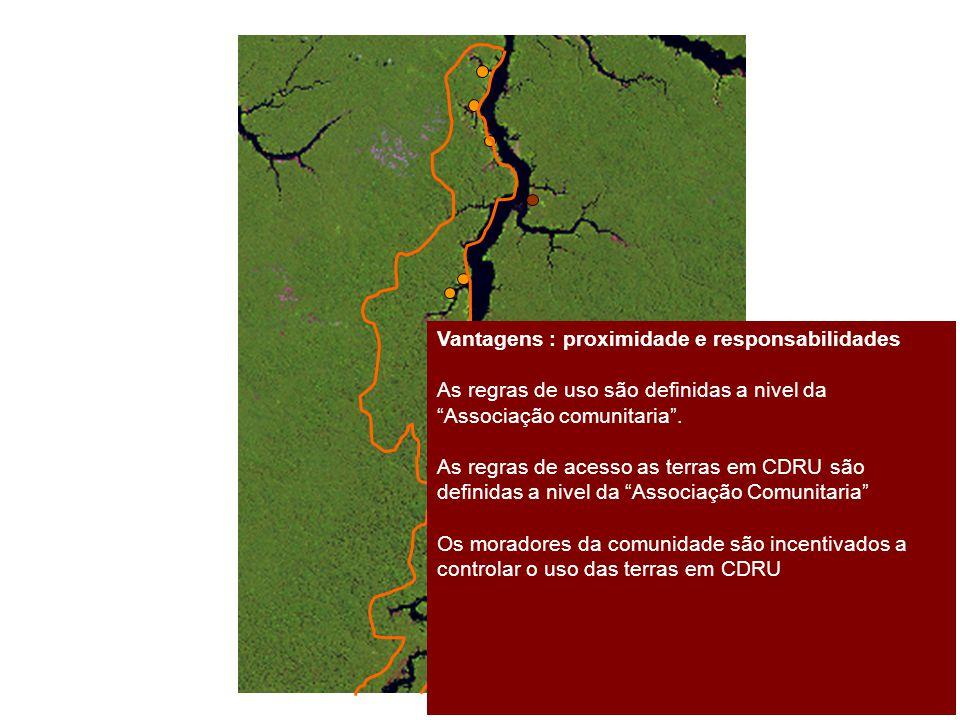 """Vantagens : proximidade e responsabilidades As regras de uso são definidas a nivel da """"Associação comunitaria"""". As regras de acesso as terras em CDRU"""