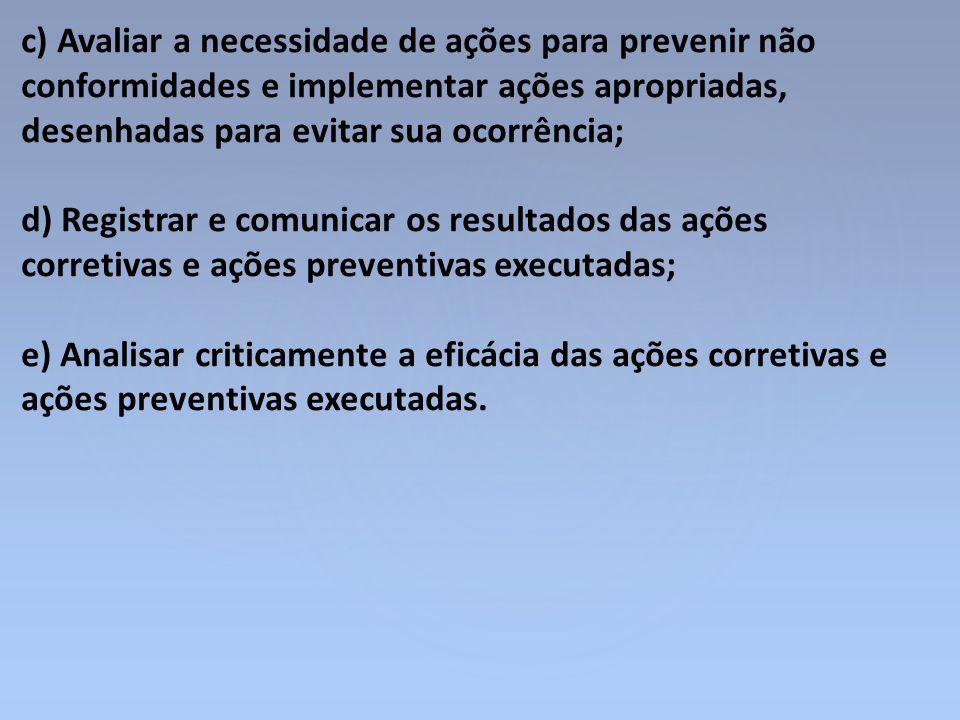 c) Avaliar a necessidade de ações para prevenir não conformidades e implementar ações apropriadas, desenhadas para evitar sua ocorrência; d) Registrar