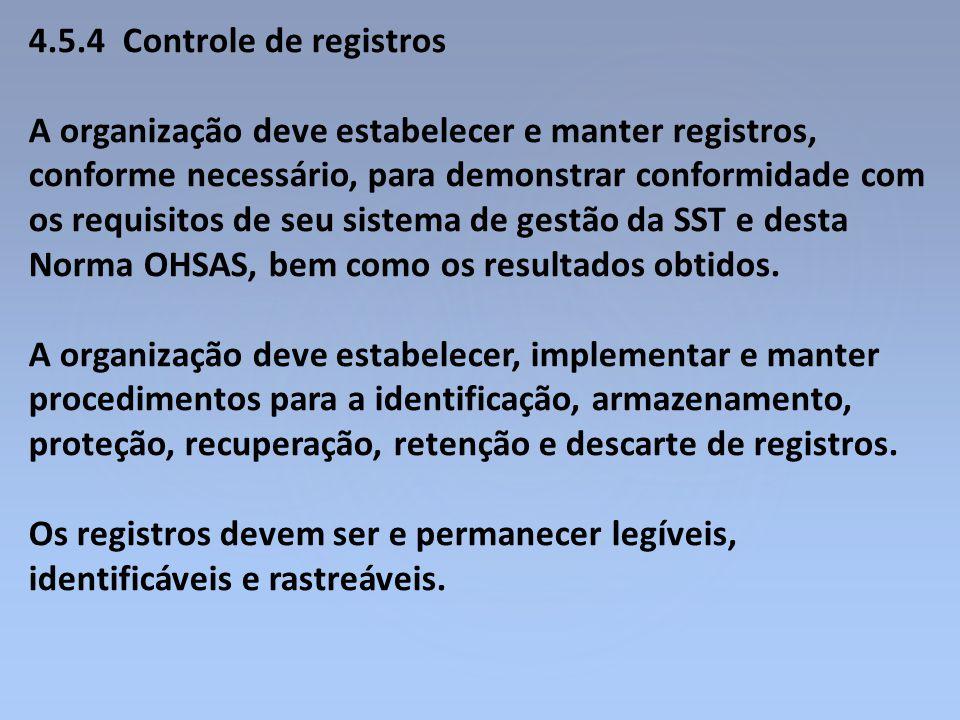 4.5.4 Controle de registros A organização deve estabelecer e manter registros, conforme necessário, para demonstrar conformidade com os requisitos de