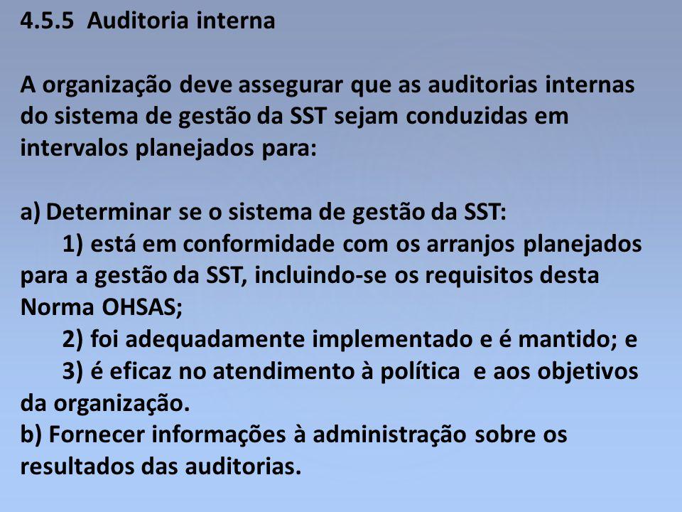 4.5.5 Auditoria interna A organização deve assegurar que as auditorias internas do sistema de gestão da SST sejam conduzidas em intervalos planejados