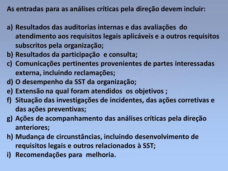As entradas para as análises críticas pela direção devem incluir: a)Resultados das auditorias internas e das avaliações do atendimento aos requisitos