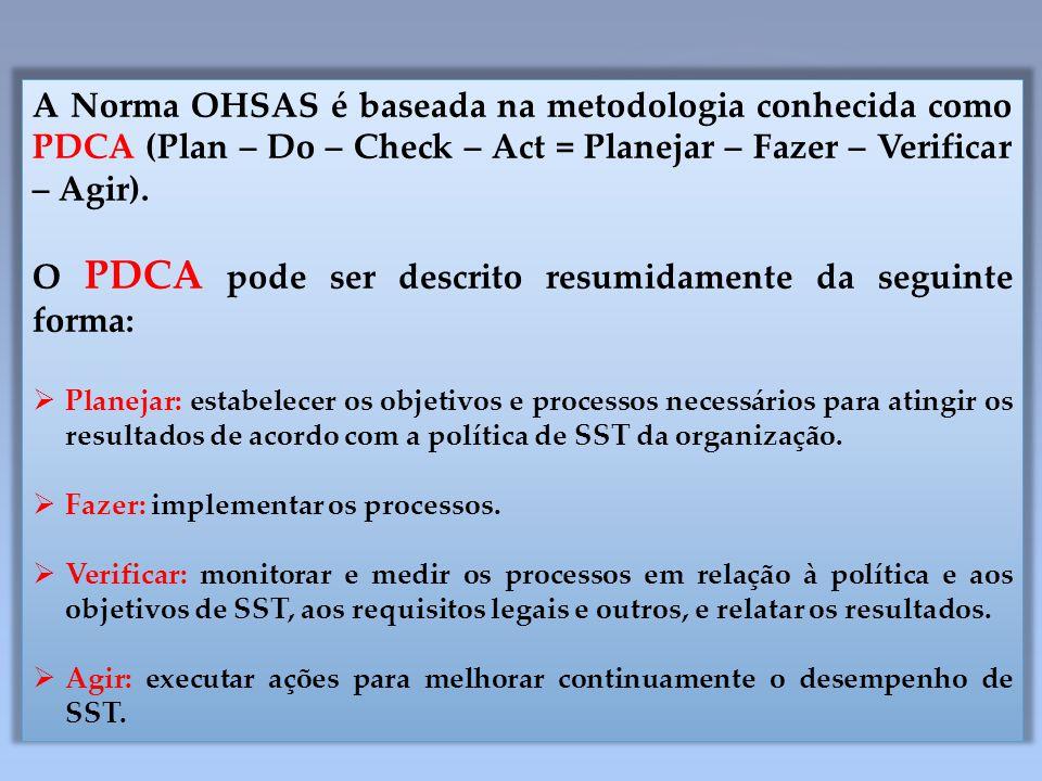A Norma OHSAS é baseada na metodologia conhecida como PDCA (Plan – Do – Check – Act = Planejar – Fazer – Verificar – Agir). O PDCA pode ser descrito r