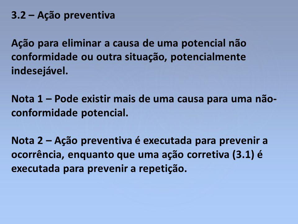 3.2 – Ação preventiva Ação para eliminar a causa de uma potencial não conformidade ou outra situação, potencialmente indesejável. Nota 1 – Pode existi