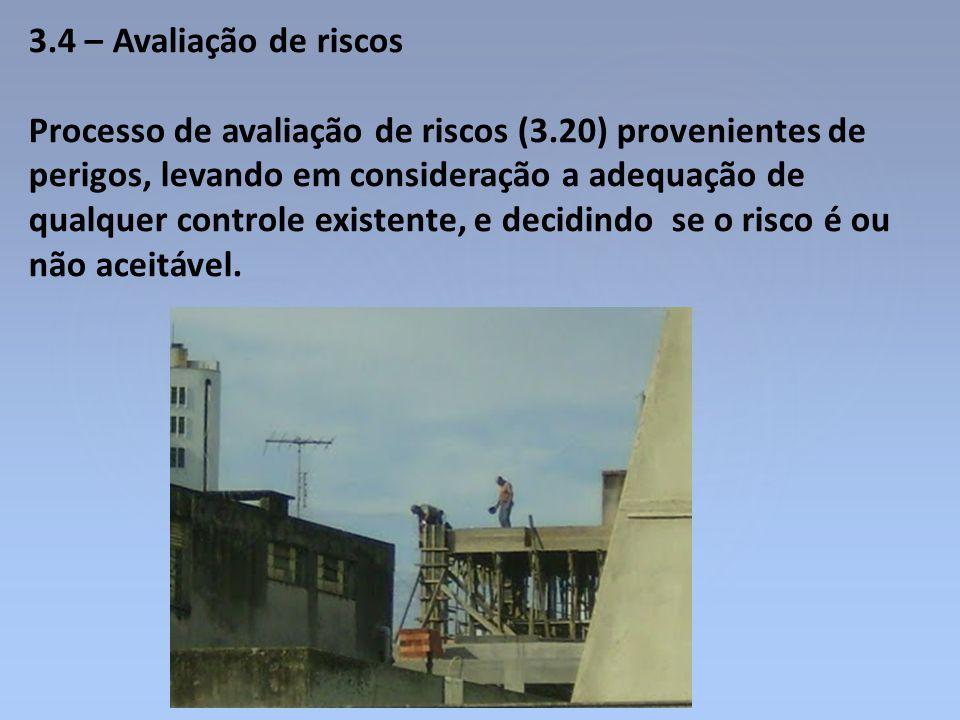 3.4 – Avaliação de riscos Processo de avaliação de riscos (3.20) provenientes de perigos, levando em consideração a adequação de qualquer controle exi