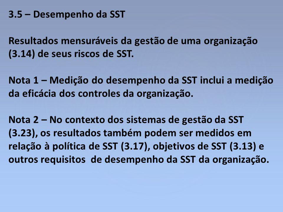 3.5 – Desempenho da SST Resultados mensuráveis da gestão de uma organização (3.14) de seus riscos de SST. Nota 1 – Medição do desempenho da SST inclui