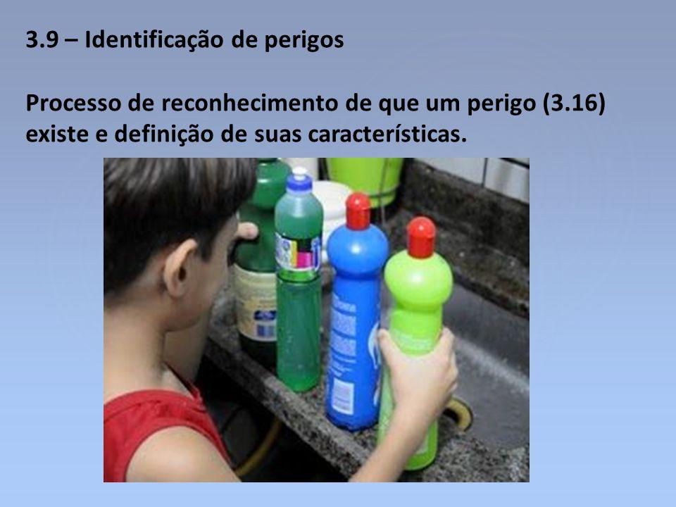 3.9 – Identificação de perigos Processo de reconhecimento de que um perigo (3.16) existe e definição de suas características.