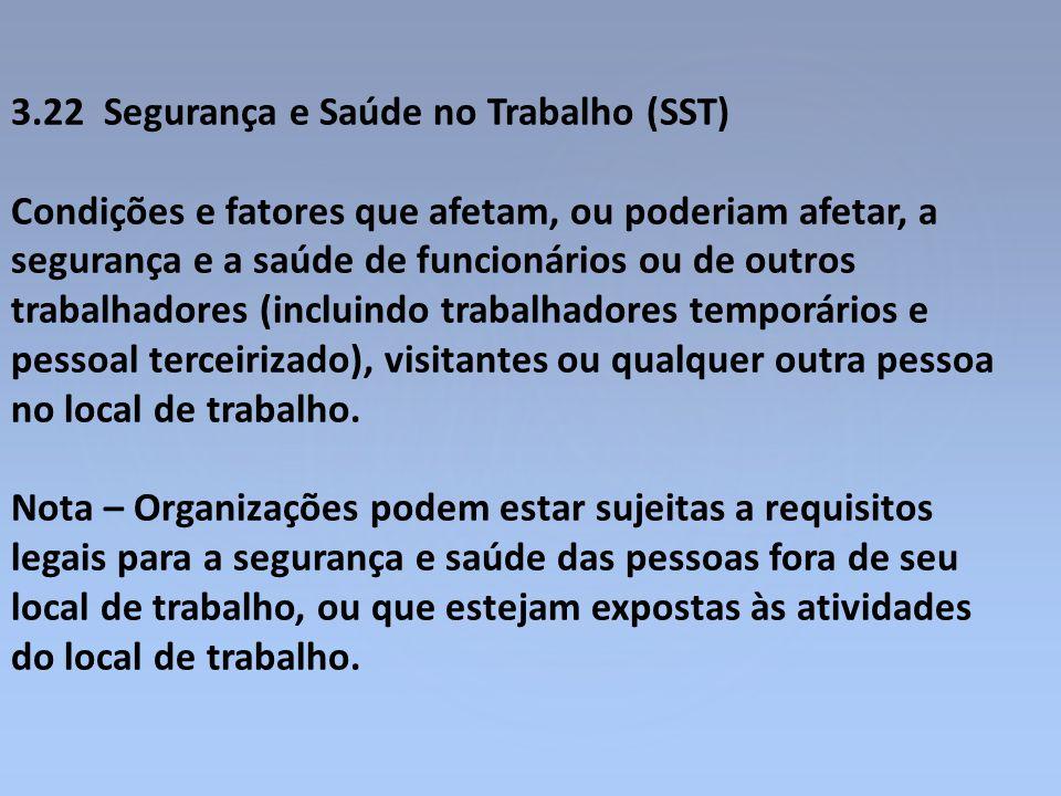 3.22 Segurança e Saúde no Trabalho (SST) Condições e fatores que afetam, ou poderiam afetar, a segurança e a saúde de funcionários ou de outros trabal