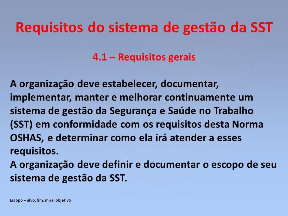 Requisitos do sistema de gestão da SST 4.1 – Requisitos gerais A organização deve estabelecer, documentar, implementar, manter e melhorar continuament