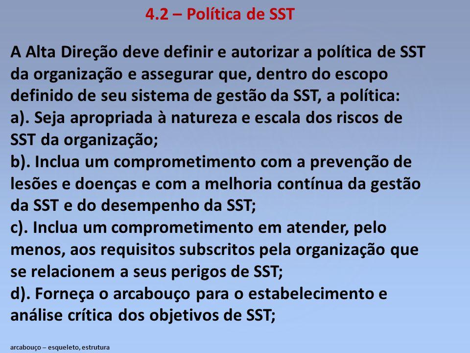 4.2 – Política de SST A Alta Direção deve definir e autorizar a política de SST da organização e assegurar que, dentro do escopo definido de seu siste