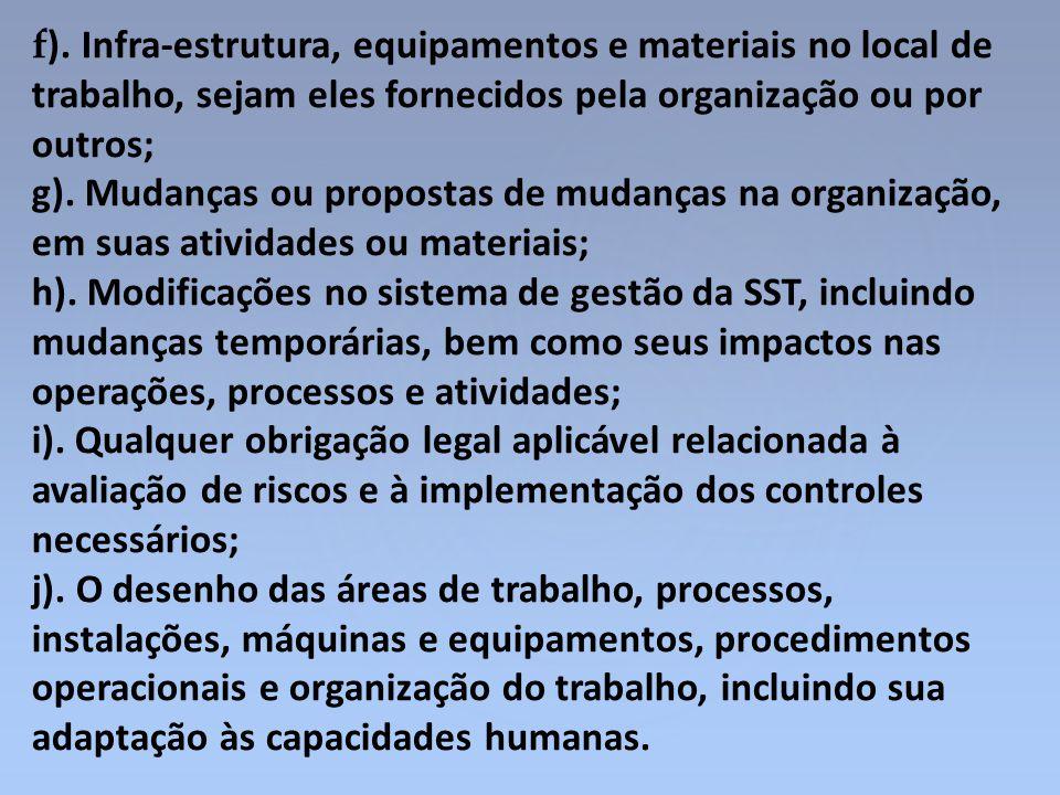 f ). Infra-estrutura, equipamentos e materiais no local de trabalho, sejam eles fornecidos pela organização ou por outros; g). Mudanças ou propostas d