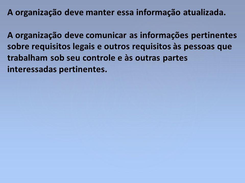 A organização deve manter essa informação atualizada. A organização deve comunicar as informações pertinentes sobre requisitos legais e outros requisi