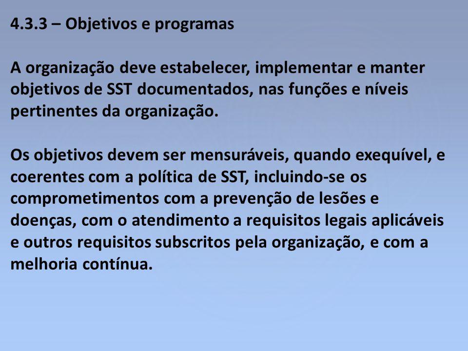4.3.3 – Objetivos e programas A organização deve estabelecer, implementar e manter objetivos de SST documentados, nas funções e níveis pertinentes da
