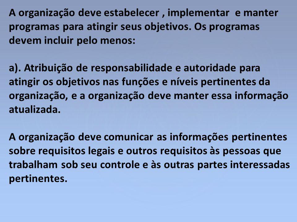 A organização deve estabelecer, implementar e manter programas para atingir seus objetivos. Os programas devem incluir pelo menos: a). Atribuição de r
