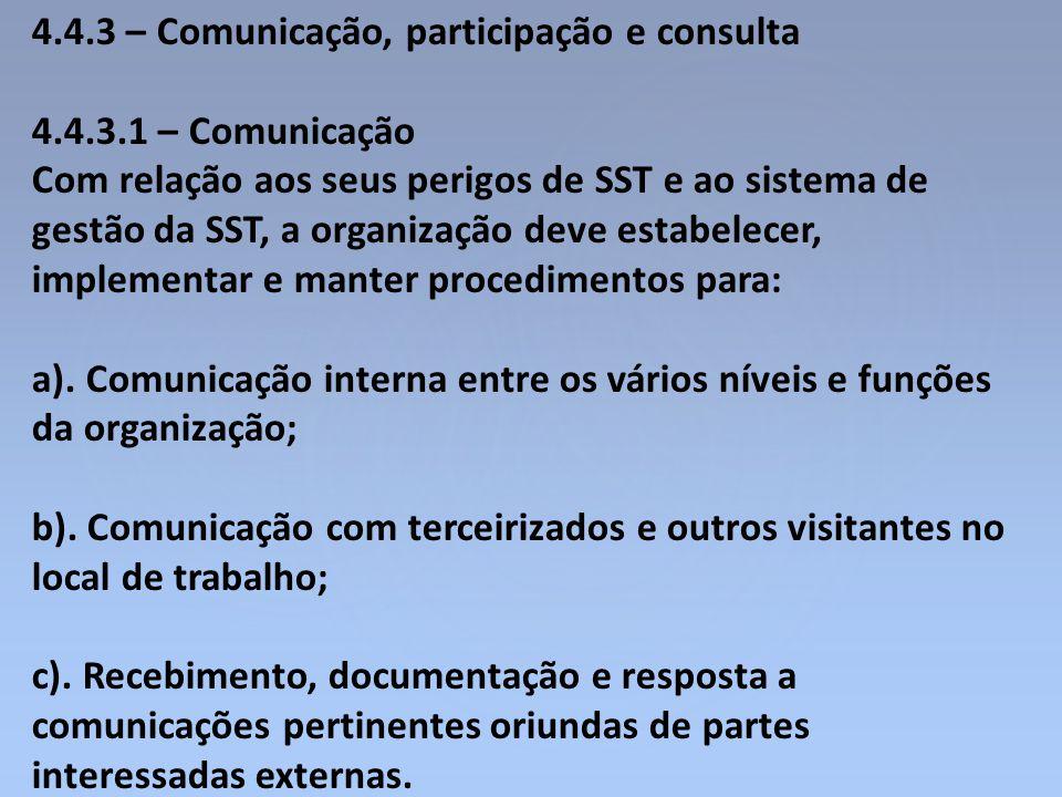 4.4.3 – Comunicação, participação e consulta 4.4.3.1 – Comunicação Com relação aos seus perigos de SST e ao sistema de gestão da SST, a organização de