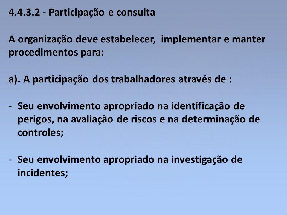 4.4.3.2 - Participação e consulta A organização deve estabelecer, implementar e manter procedimentos para: a). A participação dos trabalhadores atravé