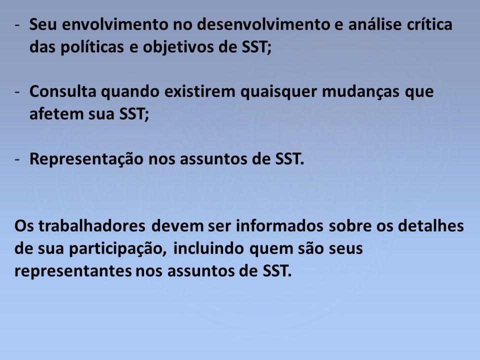 -Seu envolvimento no desenvolvimento e análise crítica das políticas e objetivos de SST; -Consulta quando existirem quaisquer mudanças que afetem sua
