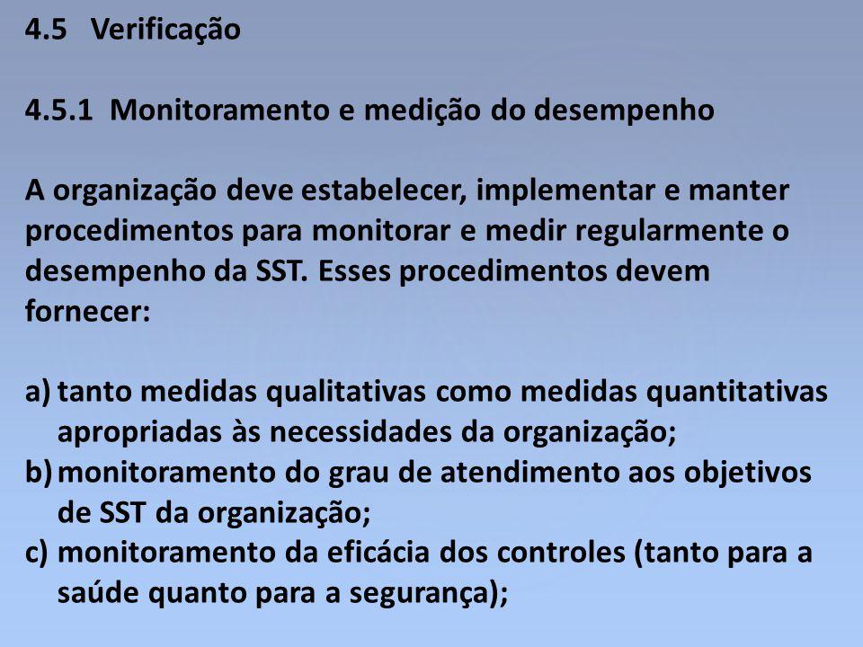 4.5 Verificação 4.5.1 Monitoramento e medição do desempenho A organização deve estabelecer, implementar e manter procedimentos para monitorar e medir