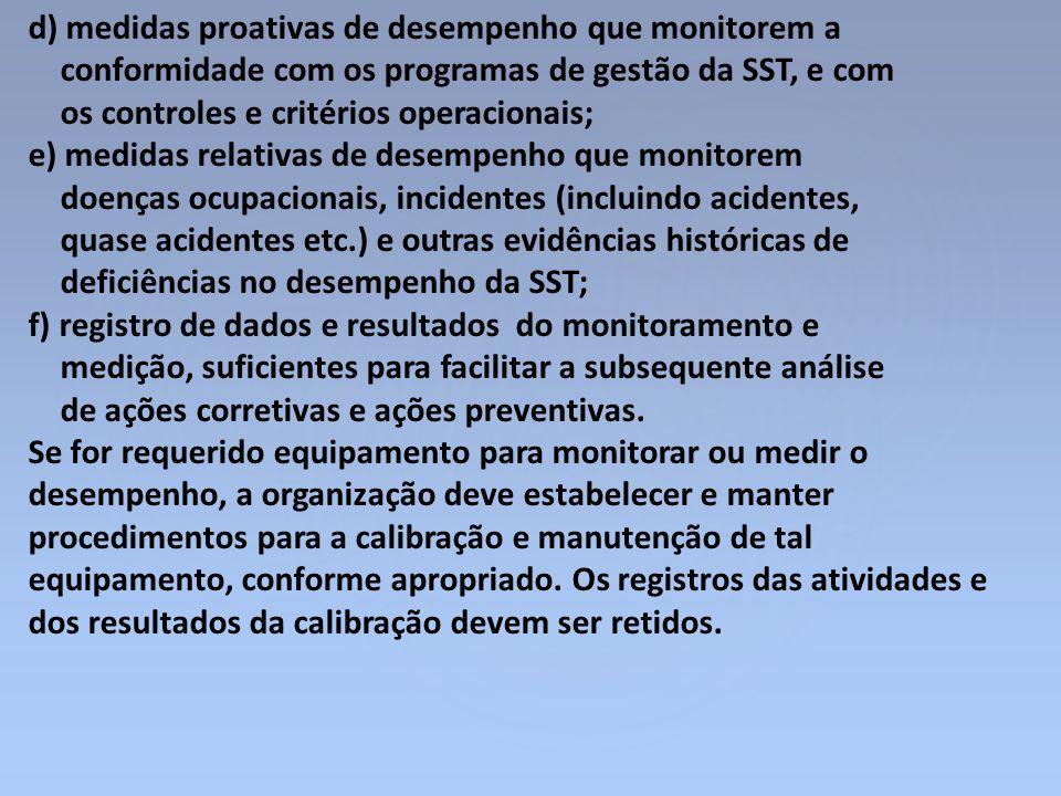 d) medidas proativas de desempenho que monitorem a conformidade com os programas de gestão da SST, e com os controles e critérios operacionais; e) med