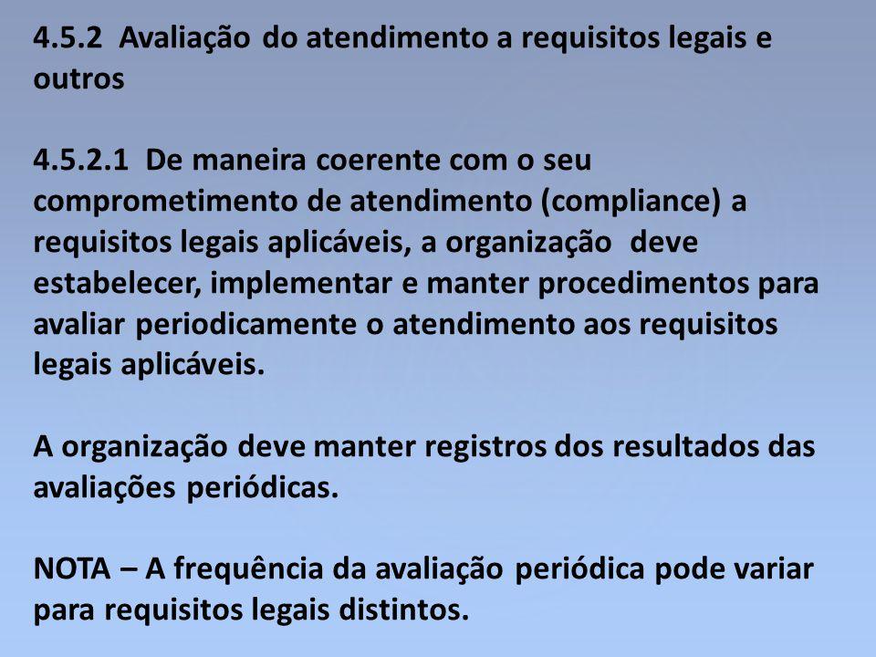 4.5.2 Avaliação do atendimento a requisitos legais e outros 4.5.2.1 De maneira coerente com o seu comprometimento de atendimento (compliance) a requis