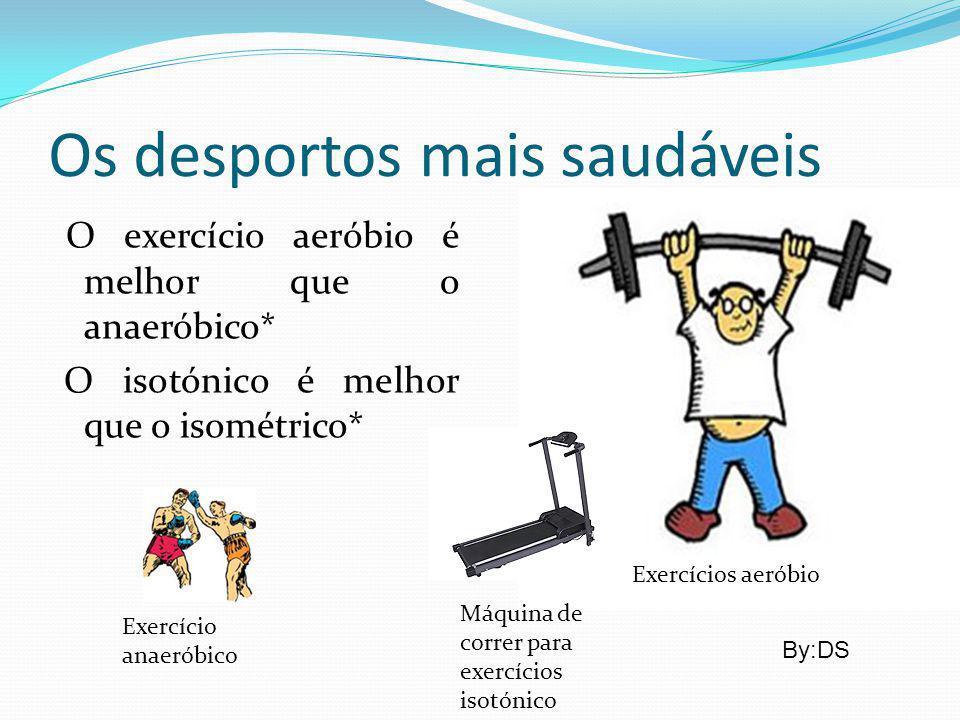 Os desportos mais saudáveis O exercício aeróbio é melhor que o anaeróbico* O isotónico é melhor que o isométrico* Exercícios aeróbio Exercício anaerób