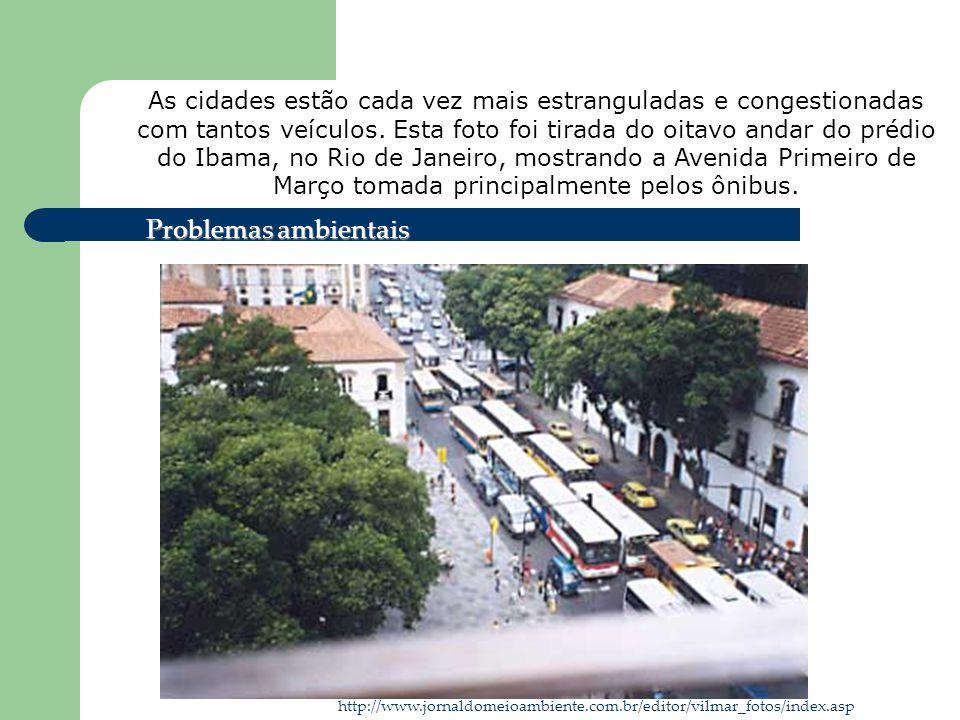 As cidades estão cada vez mais estranguladas e congestionadas com tantos veículos. Esta foto foi tirada do oitavo andar do prédio do Ibama, no Rio de