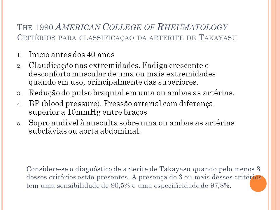 T HE 1990 A MERICAN C OLLEGE OF R HEUMATOLOGY C RITÉRIOS PARA CLASSIFICAÇÃO DA ARTERITE DE T AKAYASU 1. Inicio antes dos 40 anos 2. Claudicação nas ex