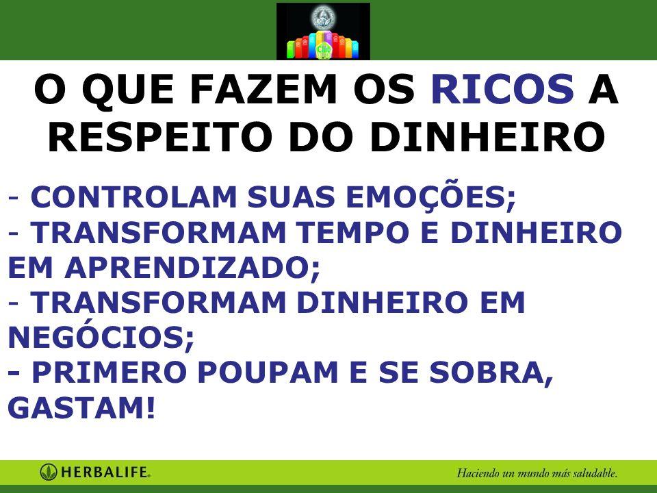 O QUE FAZEM OS RICOS A RESPEITO DO DINHEIRO - CONTROLAM SUAS EMOÇÕES; - TRANSFORMAM TEMPO E DINHEIRO EM APRENDIZADO; - TRANSFORMAM DINHEIRO EM NEGÓCIO