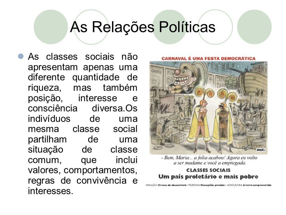 As Relações Políticas  As classes sociais não apresentam apenas uma diferente quantidade de riqueza, mas também posição, interesse e consciência dive