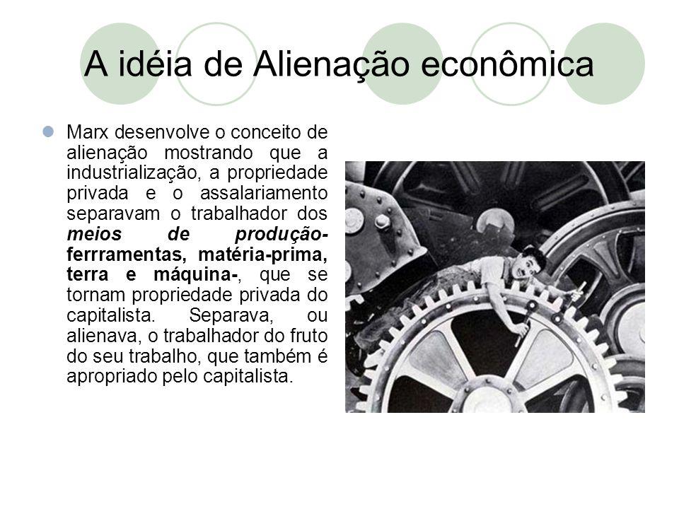 A idéia de Alienação econômica  Marx desenvolve o conceito de alienação mostrando que a industrialização, a propriedade privada e o assalariamento se