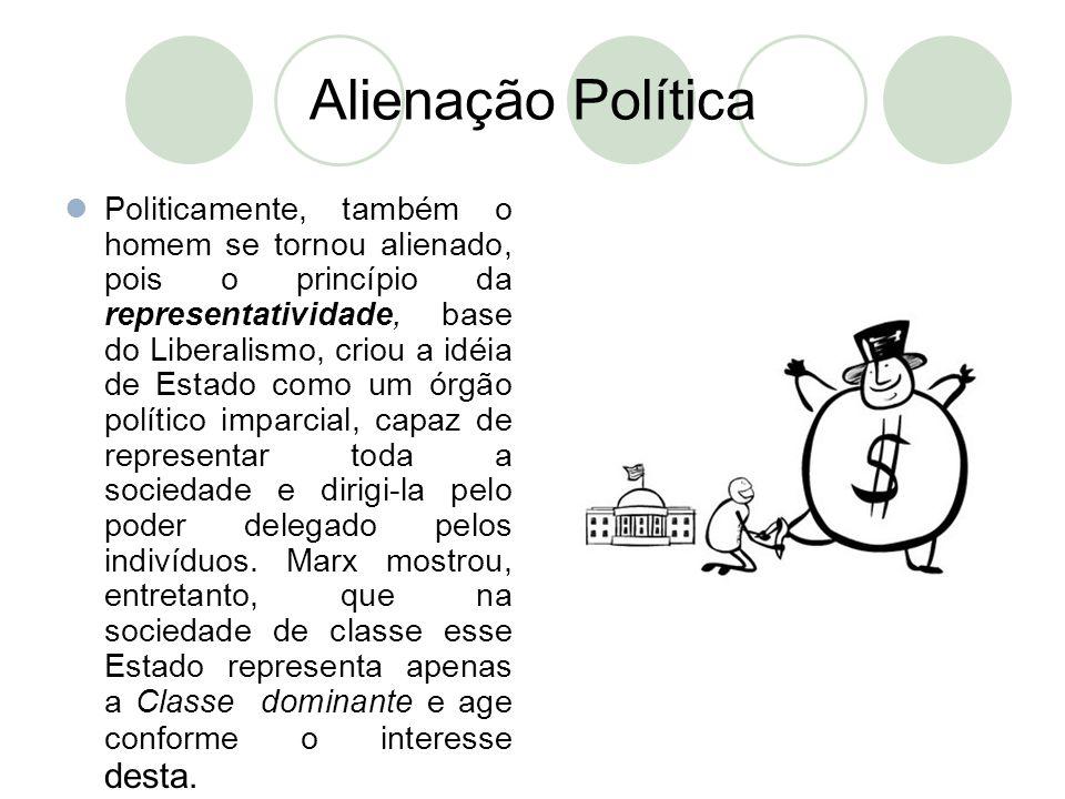 Alienação Política  Politicamente, também o homem se tornou alienado, pois o princípio da representatividade, base do Liberalismo, criou a idéia de E