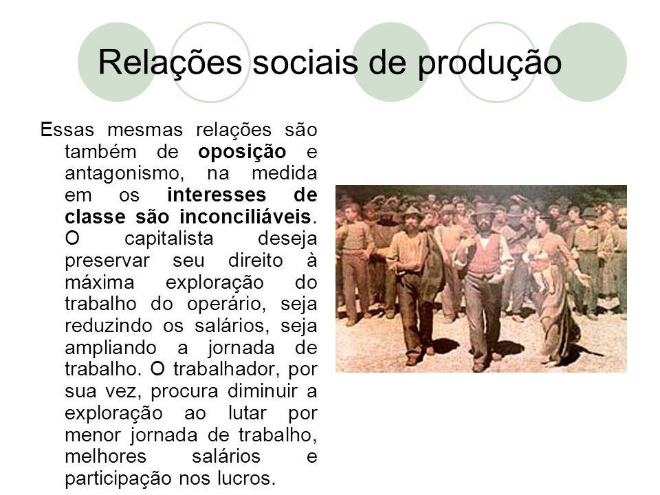 Relações sociais de produção Essas mesmas relações são também de oposição e antagonismo, na medida em os interesses de classe são inconciliáveis. O ca