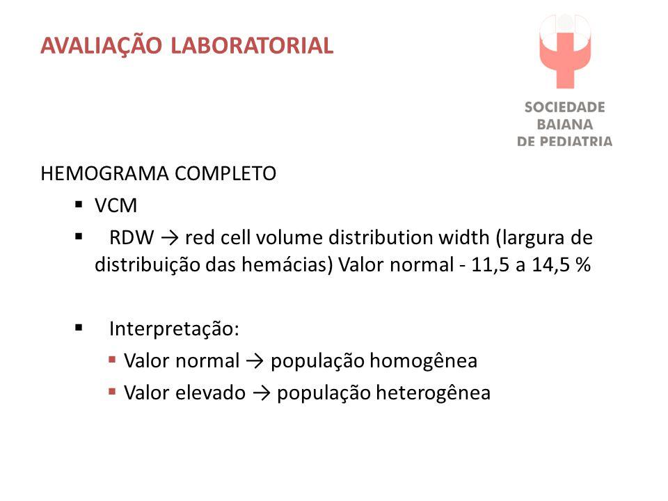 AVALIAÇÃO LABORATORIAL HEMOGRAMA COMPLETO  VCM  RDW → red cell volume distribution width (largura de distribuição das hemácias) Valor normal - 11,5