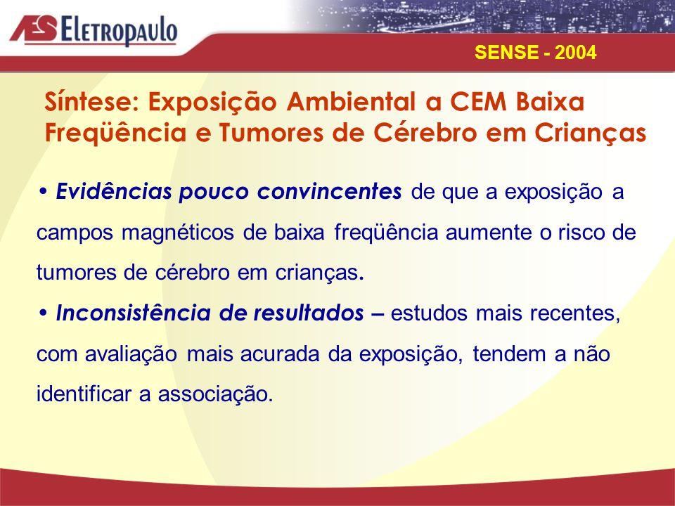 SENSE - 2004 Estudos Sobre Exposição Ocupacional a Campos Eletromagnéticos de Baixa Freqüência, Leucemia e Tumores de Cérebro