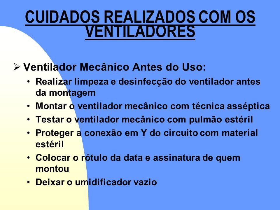CUIDADOS REALIZADOS COM OS VENTILADORES  Ventilador Mecânico Antes do Uso: •Realizar limpeza e desinfecção do ventilador antes da montagem •Montar o