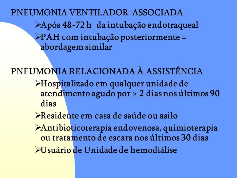 PNEUMONIA VENTILADOR-ASSOCIADA  Após 48-72 h da intubação endotraqueal  PAH com intubação posteriormente = abordagem similar PNEUMONIA RELACIONADA À