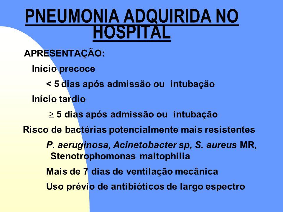 PNEUMONIA ADQUIRIDA NO HOSPITAL APRESENTAÇÃO: Início precoce < 5 dias após admissão ou intubação Início tardio  5 dias após admissão ou intubação Ris